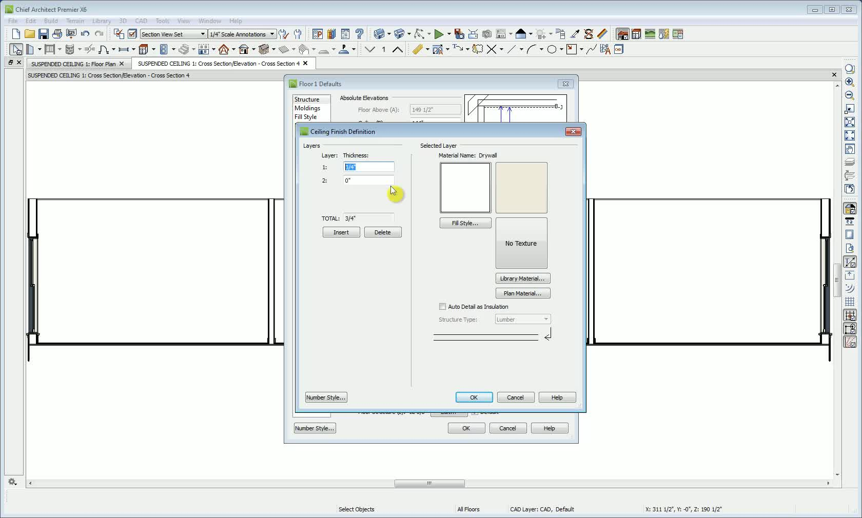 drawing a suspended ceiling with grid and tile